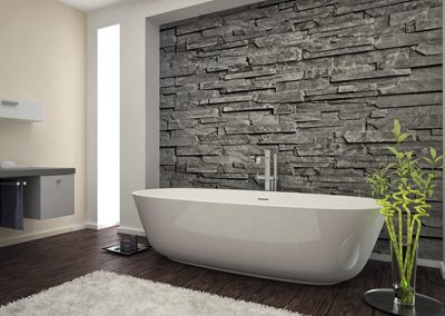 Modern granite interior veneers applied to bathroom wall for a sophisticated design.