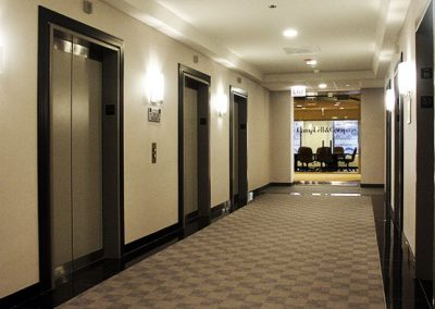 Black granite used for commercial use in multiple entranceways and elevator thresholds.