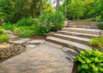 Beautiful outdoor stair treads and flagstone with a hue of pink to accent well with Mother Nature's colour palette.