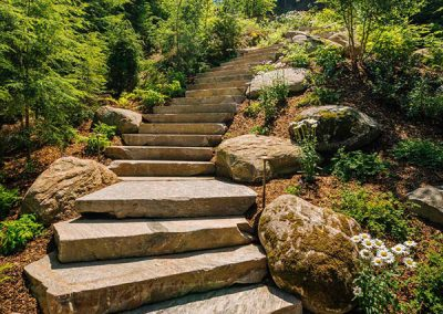 Landscaped stair treads winding throughout a stunning Muskoka Region property.